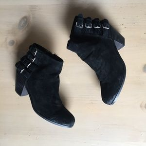 Sam Edelman Black Suede Lucca Buckle Booties 9.5
